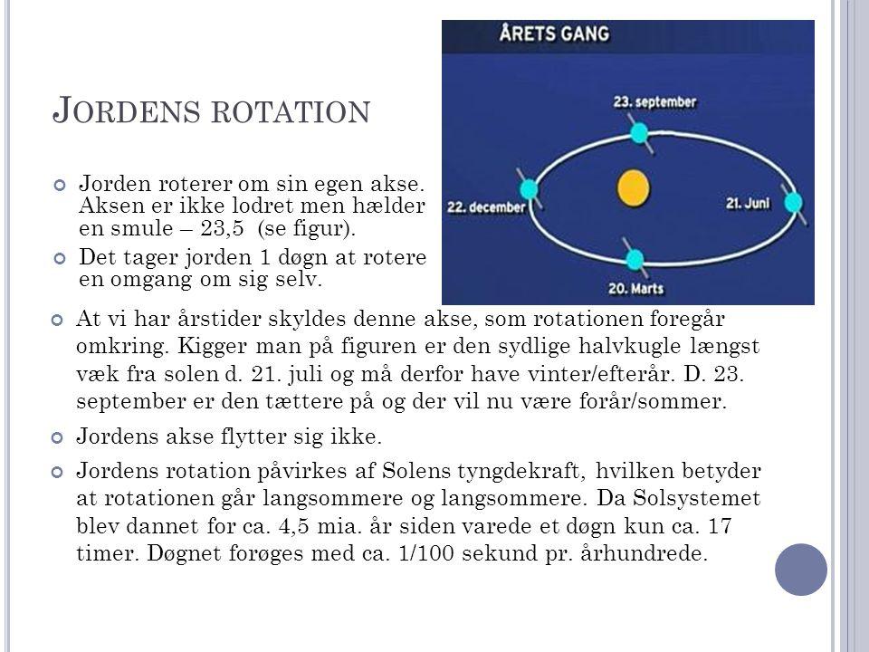 J ORDENS ROTATION Jorden roterer om sin egen akse.