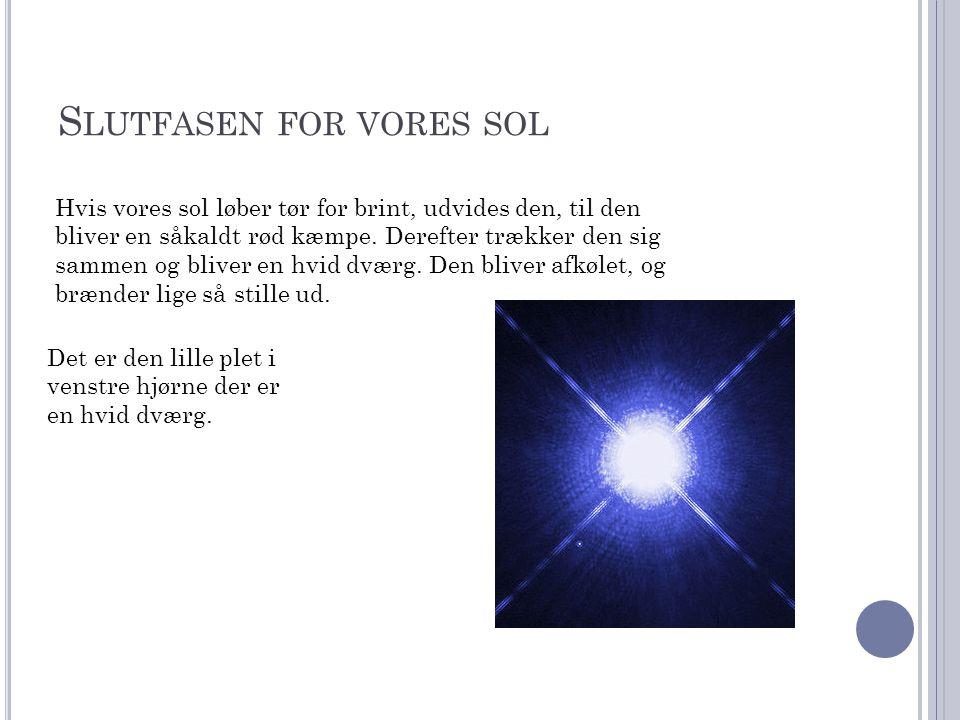 S LUTFASEN FOR VORES SOL Hvis vores sol løber tør for brint, udvides den, til den bliver en såkaldt rød kæmpe.