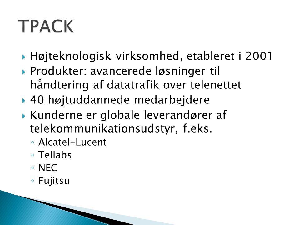  Højteknologisk virksomhed, etableret i 2001  Produkter: avancerede løsninger til håndtering af datatrafik over telenettet  40 højtuddannede medarbejdere  Kunderne er globale leverandører af telekommunikationsudstyr, f.eks.