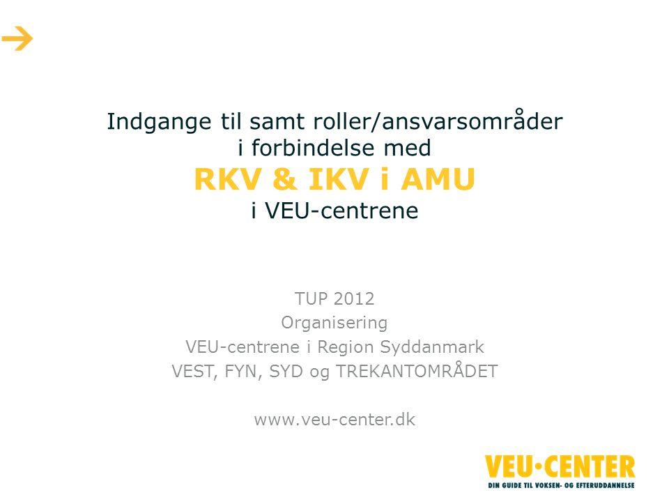 Indgange til samt roller/ansvarsområder i forbindelse med RKV & IKV i AMU i VEU-centrene TUP 2012 Organisering VEU-centrene i Region Syddanmark VEST, FYN, SYD og TREKANTOMRÅDET www.veu-center.dk