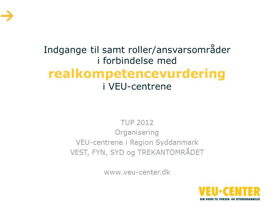 Indgange til samt roller/ansvarsområder i forbindelse med realkompetencevurdering i VEU-centrene TUP 2012 Organisering VEU-centrene i Region Syddanmark VEST, FYN, SYD og TREKANTOMRÅDET www.veu-center.dk