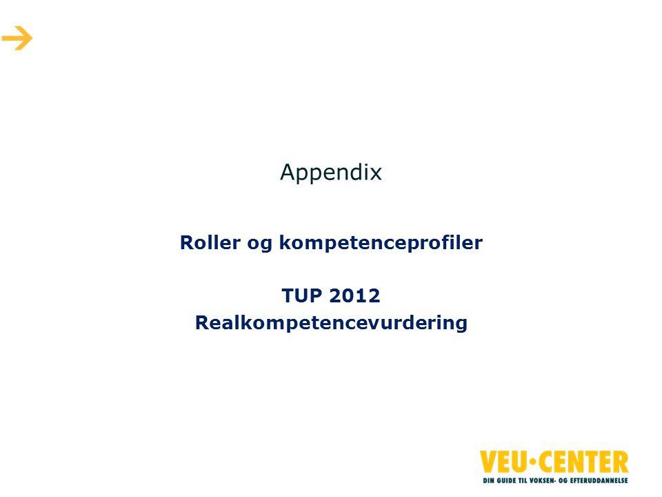 Appendix Roller og kompetenceprofiler TUP 2012 Realkompetencevurdering