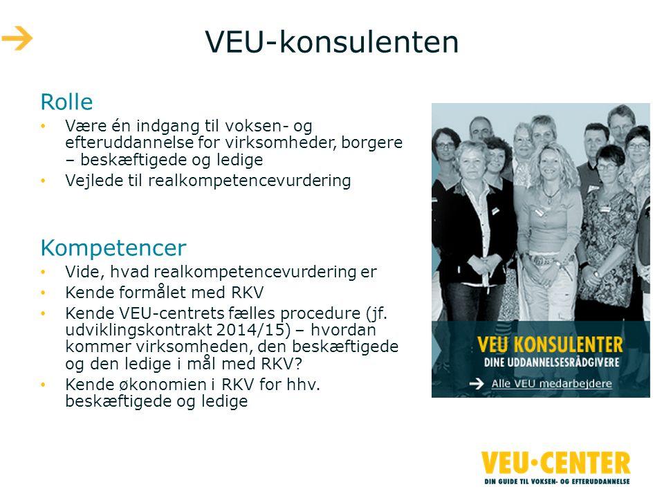VEU-konsulenten Rolle • Være én indgang til voksen- og efteruddannelse for virksomheder, borgere – beskæftigede og ledige • Vejlede til realkompetencevurdering Kompetencer • Vide, hvad realkompetencevurdering er • Kende formålet med RKV • Kende VEU-centrets fælles procedure (jf.