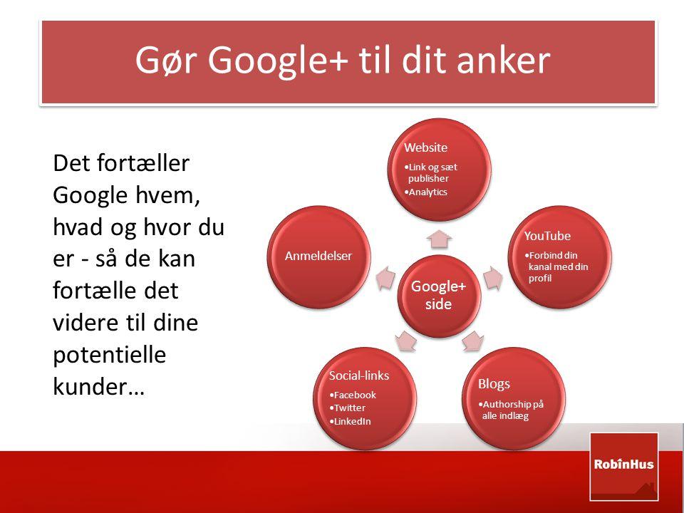 Google+ side Website •Link og sæt publisher •Analytics YouTube •Forbind din kanal med din profil Blogs •Authorship på alle indlæg Social-links •Facebook •Twitter •LinkedIn Anmeldelser Det fortæller Google hvem, hvad og hvor du er - så de kan fortælle det videre til dine potentielle kunder… Gør Google+ til dit anker