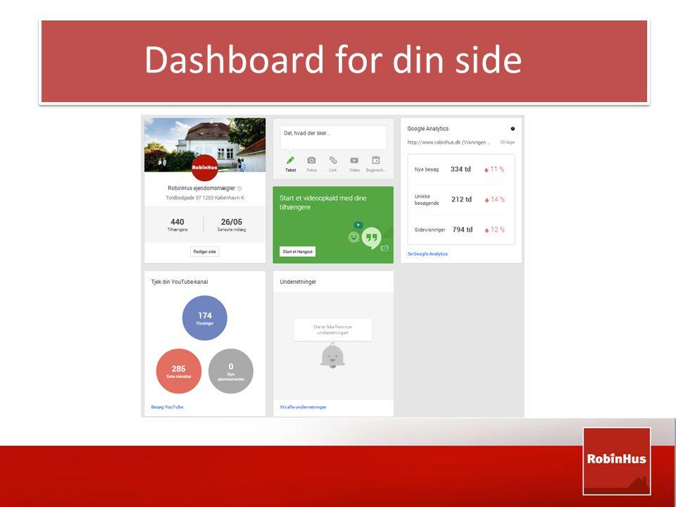 Dashboard for din side