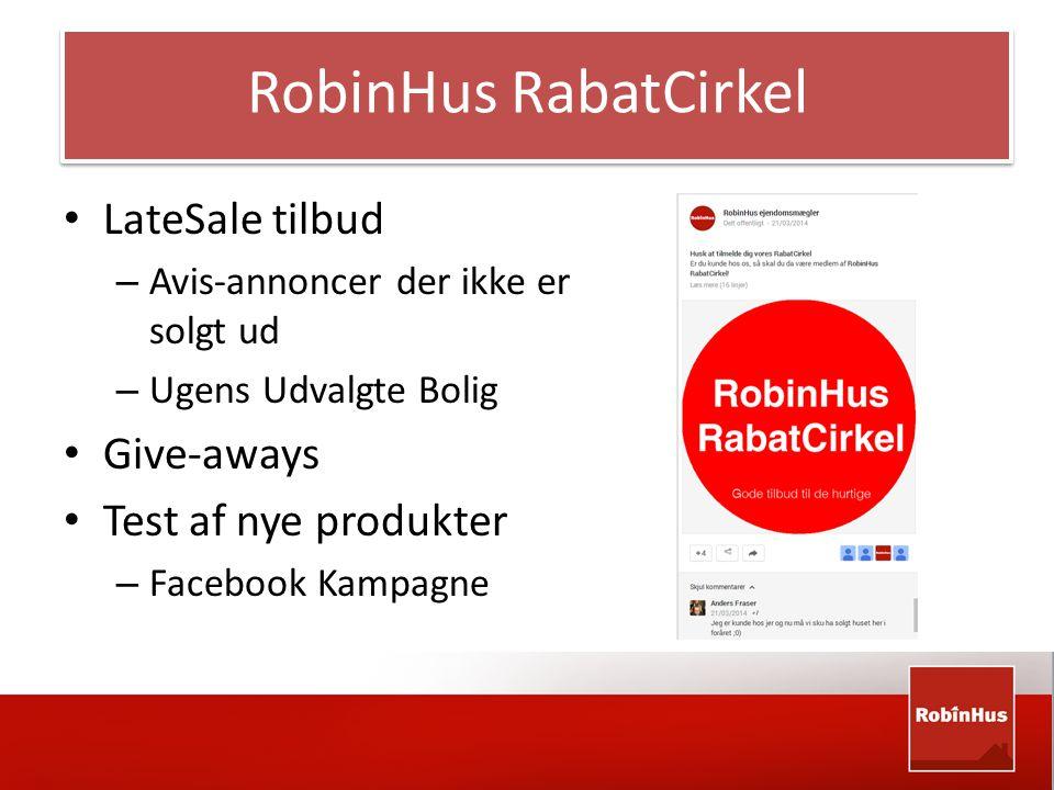 • LateSale tilbud – Avis-annoncer der ikke er solgt ud – Ugens Udvalgte Bolig • Give-aways • Test af nye produkter – Facebook Kampagne RobinHus RabatCirkel