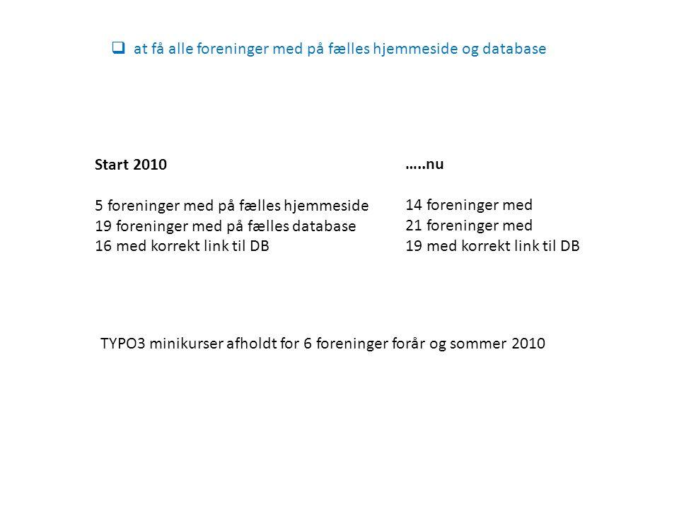Start 2010 5 foreninger med på fælles hjemmeside 19 foreninger med på fælles database 16 med korrekt link til DB  at få alle foreninger med på fælles hjemmeside og database …..nu 14 foreninger med 21 foreninger med 19 med korrekt link til DB TYPO3 minikurser afholdt for 6 foreninger forår og sommer 2010