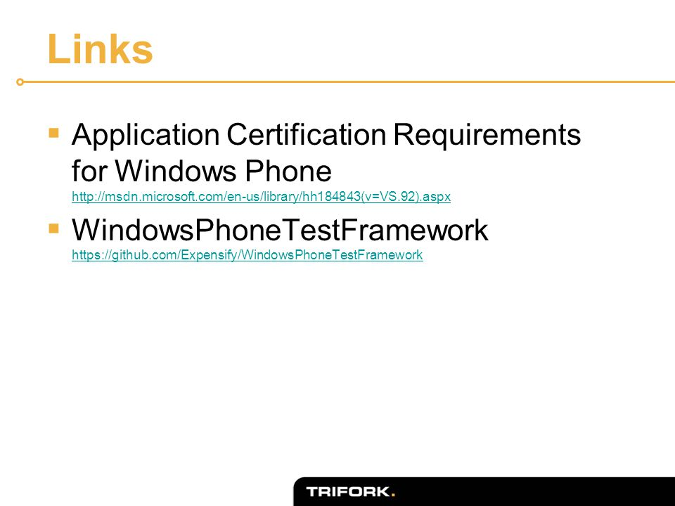 Links  Application Certification Requirements for Windows Phone http://msdn.microsoft.com/en-us/library/hh184843(v=VS.92).aspx http://msdn.microsoft.com/en-us/library/hh184843(v=VS.92).aspx  WindowsPhoneTestFramework https://github.com/Expensify/WindowsPhoneTestFramework https://github.com/Expensify/WindowsPhoneTestFramework