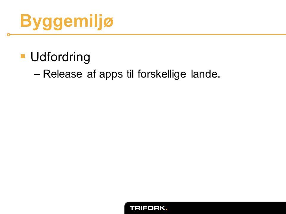 Byggemiljø  Udfordring –Release af apps til forskellige lande.