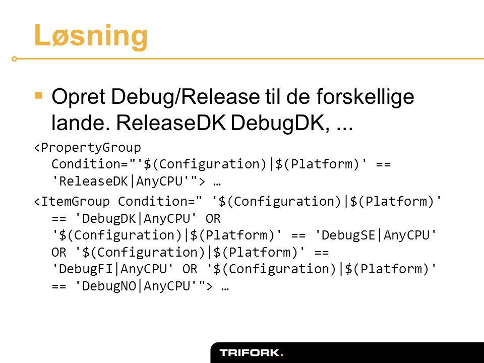 Løsning  Opret Debug/Release til de forskellige lande. ReleaseDK DebugDK,... …