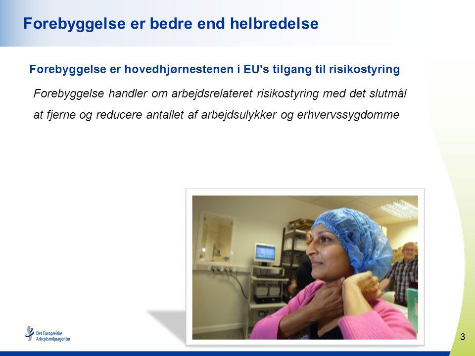 3 www.healthy-workplaces.eu Forebyggelse er bedre end helbredelse Forebyggelse er hovedhjørnestenen i EU s tilgang til risikostyring Forebyggelse handler om arbejdsrelateret risikostyring med det slutmål at fjerne og reducere antallet af arbejdsulykker og erhvervssygdomme