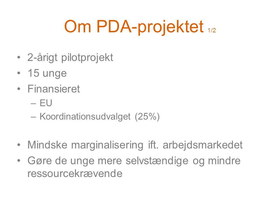 Om PDA-projektet 1/2 •2-årigt pilotprojekt •15 unge •Finansieret –EU –Koordinationsudvalget (25%) •Mindske marginalisering ift.