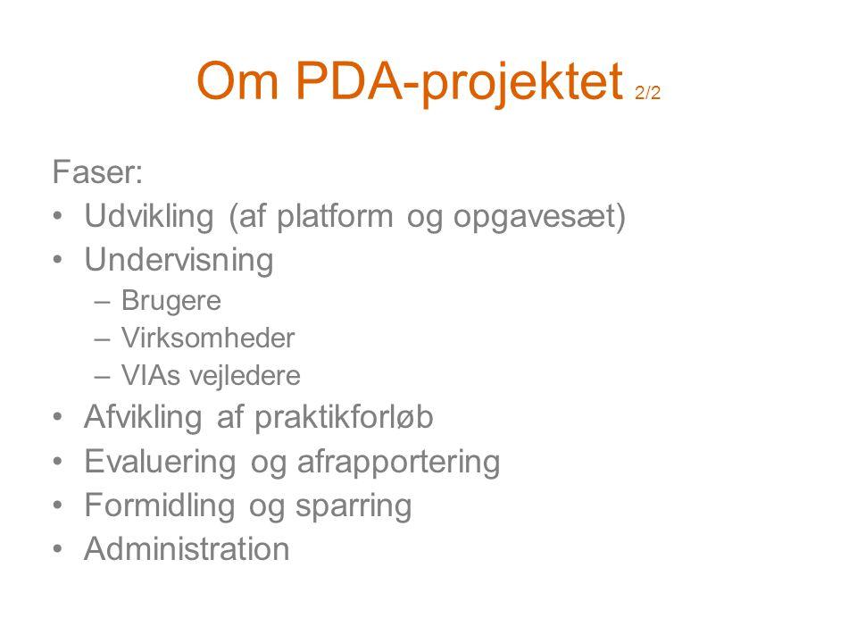Om PDA-projektet 2/2 Faser: •Udvikling (af platform og opgavesæt) •Undervisning –Brugere –Virksomheder –VIAs vejledere •Afvikling af praktikforløb •Evaluering og afrapportering •Formidling og sparring •Administration
