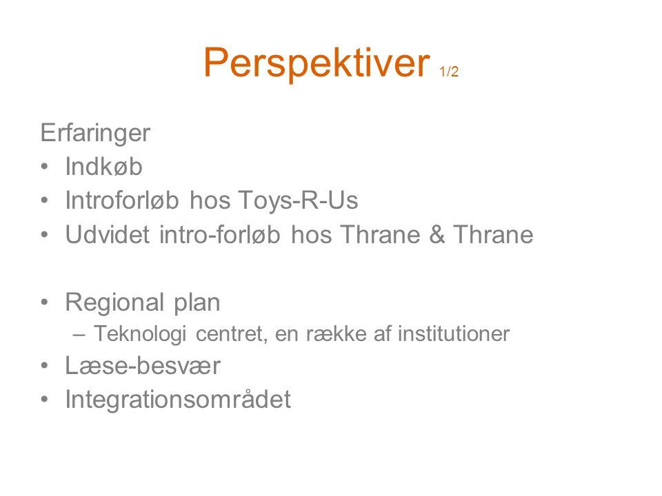 Perspektiver 1/2 Erfaringer •Indkøb •Introforløb hos Toys-R-Us •Udvidet intro-forløb hos Thrane & Thrane •Regional plan –Teknologi centret, en række af institutioner •Læse-besvær •Integrationsområdet