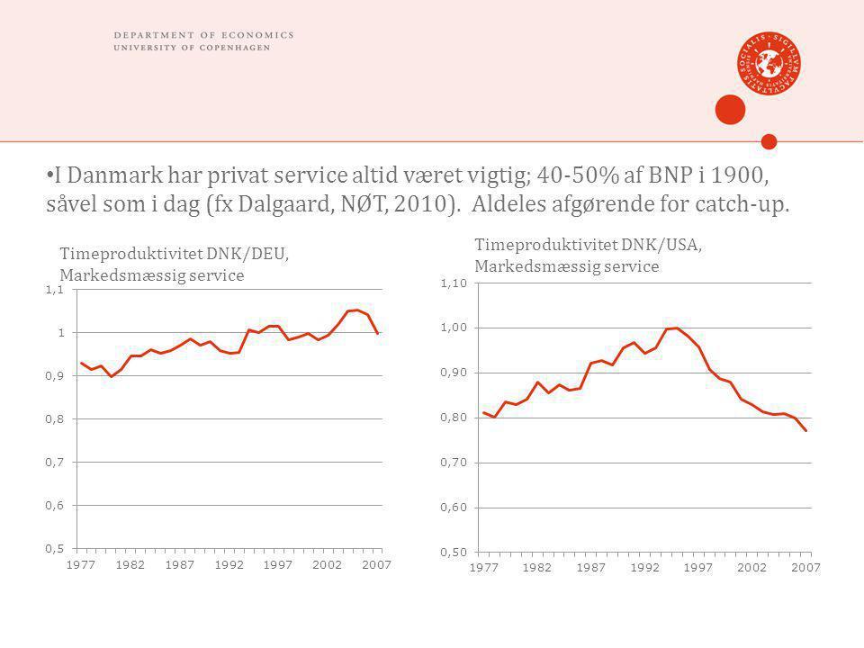 • I Danmark har privat service altid været vigtig; 40-50% af BNP i 1900, såvel som i dag (fx Dalgaard, NØT, 2010).