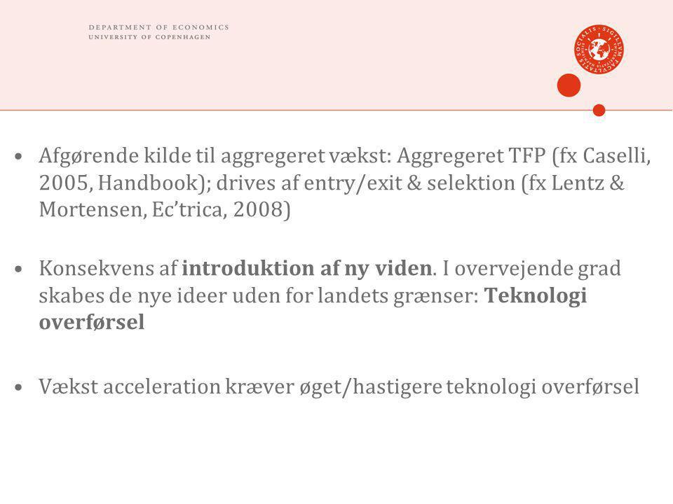 •Afgørende kilde til aggregeret vækst: Aggregeret TFP (fx Caselli, 2005, Handbook); drives af entry/exit & selektion (fx Lentz & Mortensen, Ec'trica, 2008) •Konsekvens af introduktion af ny viden.