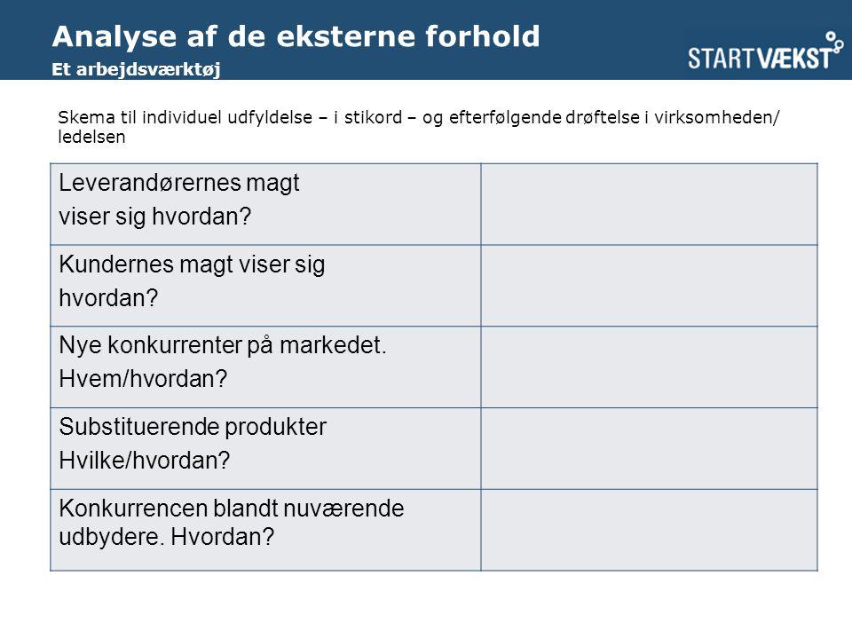 Analyse af de eksterne forhold Et arbejdsværktøj Leverandørernes magt viser sig hvordan.