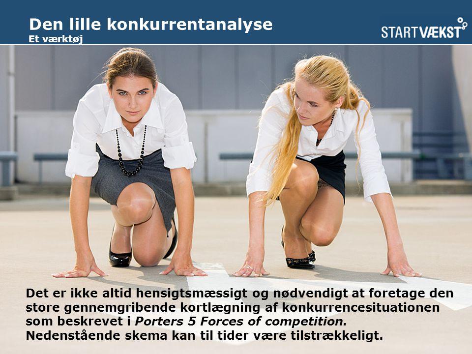Den lille konkurrentanalyse Et værktøj Det er ikke altid hensigtsmæssigt og nødvendigt at foretage den store gennemgribende kortlægning af konkurrencesituationen som beskrevet i Porters 5 Forces of competition.
