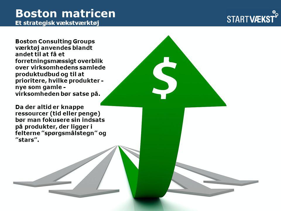 Boston matricen Et strategisk vækstværktøj Boston Consulting Groups værktøj anvendes blandt andet til at få et forretningsmæssigt overblik over virksomhedens samlede produktudbud og til at prioritere, hvilke produkter - nye som gamle - virksomheden bør satse på.