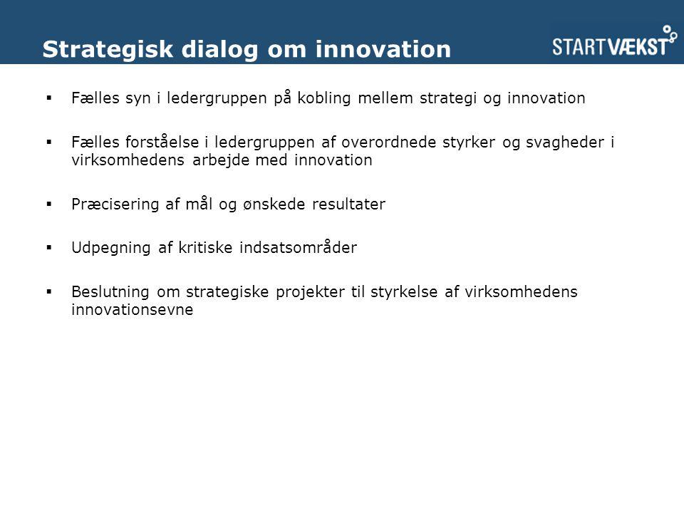 Strategisk dialog om innovation  Fælles syn i ledergruppen på kobling mellem strategi og innovation  Fælles forståelse i ledergruppen af overordnede styrker og svagheder i virksomhedens arbejde med innovation  Præcisering af mål og ønskede resultater  Udpegning af kritiske indsatsområder  Beslutning om strategiske projekter til styrkelse af virksomhedens innovationsevne