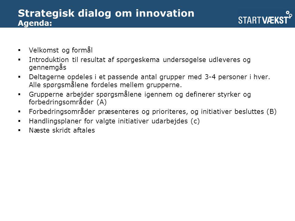 Strategisk dialog om innovation Agenda:  Velkomst og formål  Introduktion til resultat af spørgeskema undersøgelse udleveres og gennemgås  Deltagerne opdeles i et passende antal grupper med 3-4 personer i hver.