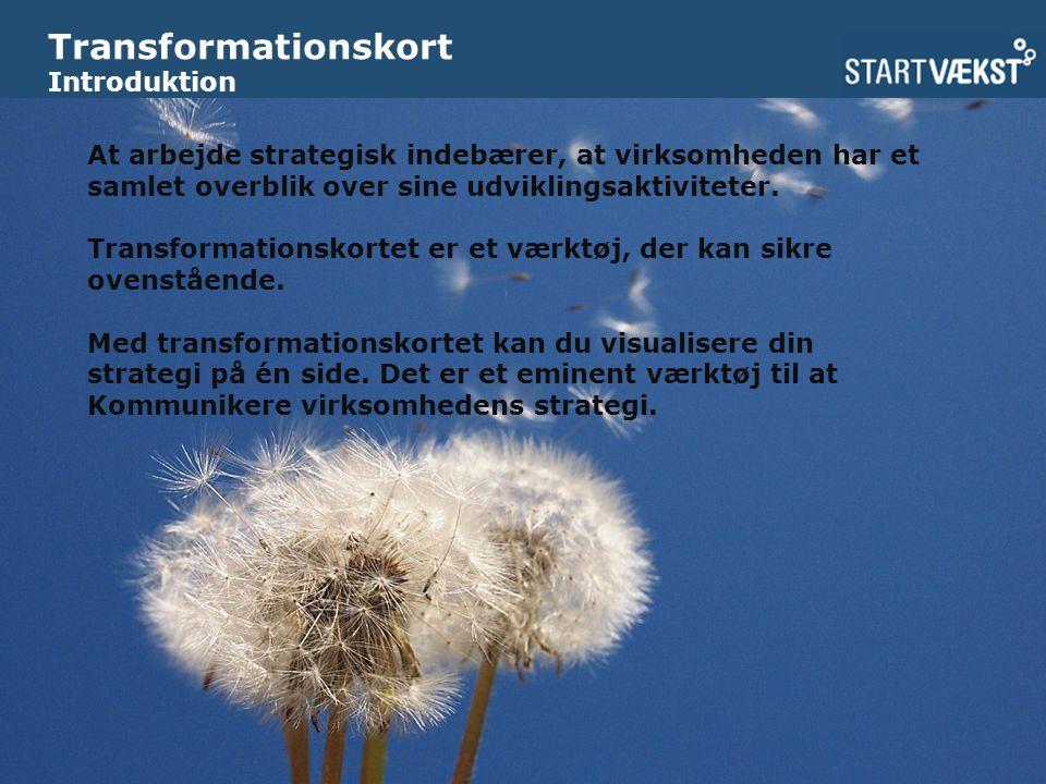 Transformationskort Introduktion At arbejde strategisk indebærer, at virksomheden har et samlet overblik over sine udviklingsaktiviteter.