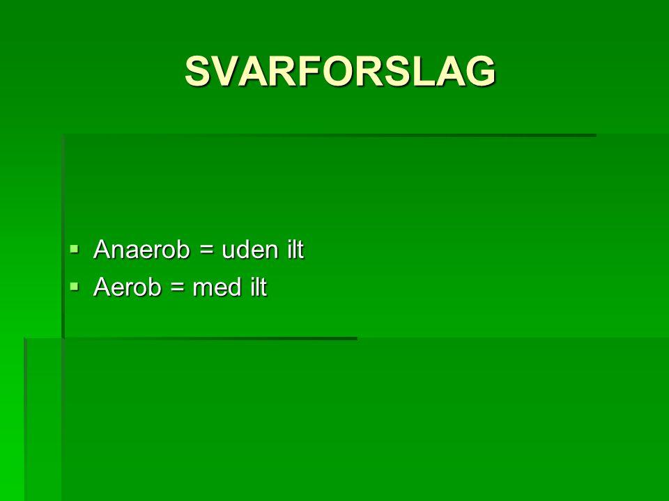 SVARFORSLAG  Anaerob = uden ilt  Aerob = med ilt