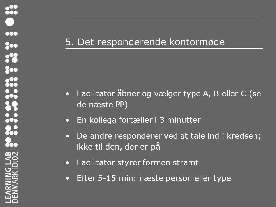 5. Det responderende kontormøde •Facilitator åbner og vælger type A, B eller C (se de næste PP) •En kollega fortæller i 3 minutter •De andre responder