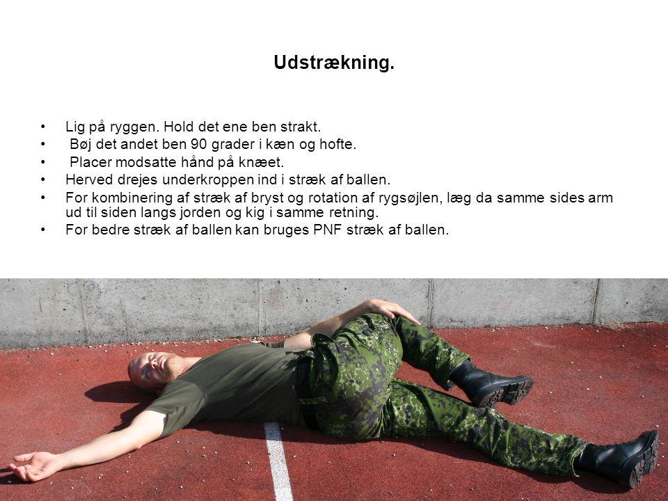 Udstrækning.•Lig på ryggen. Hold det ene ben strakt.