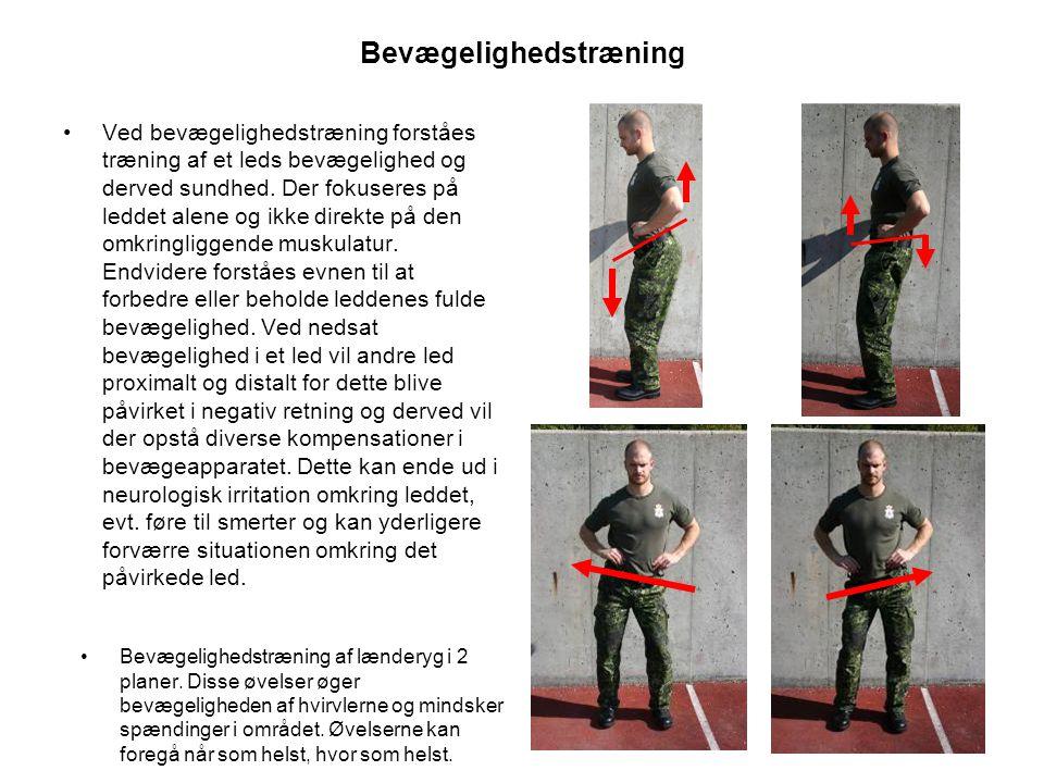 Bevægelighedstræning •Ved bevægelighedstræning forståes træning af et leds bevægelighed og derved sundhed.