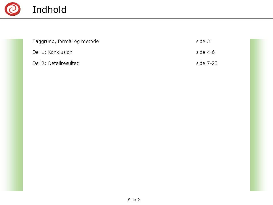 Baggrund, formål og metodeside 3 Del 1: Konklusionside 4-6 Del 2: Detailresultat side 7-23 Indhold Side 2