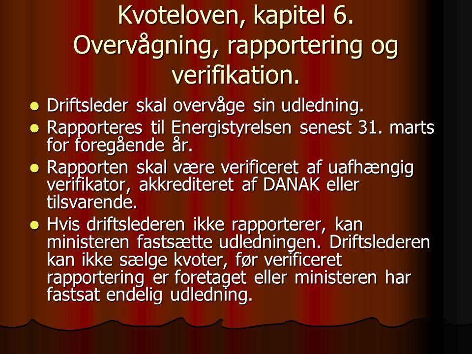 Kvoteloven, kapitel 6. Overvågning, rapportering og verifikation.