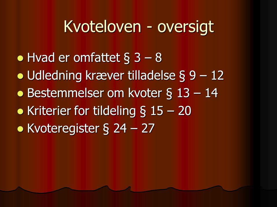 Kvoteloven - oversigt  Hvad er omfattet § 3 – 8  Udledning kræver tilladelse § 9 – 12  Bestemmelser om kvoter § 13 – 14  Kriterier for tildeling § 15 – 20  Kvoteregister § 24 – 27