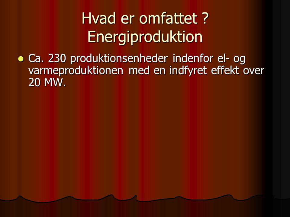 Hvad er omfattet . Energiproduktion  Ca.