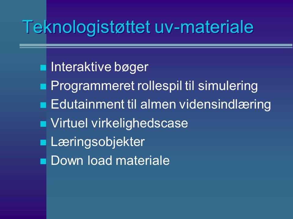 Teknologistøttet uv-materiale n Interaktive bøger n Programmeret rollespil til simulering n Edutainment til almen vidensindlæring n Virtuel virkelighedscase n Læringsobjekter n Down load materiale
