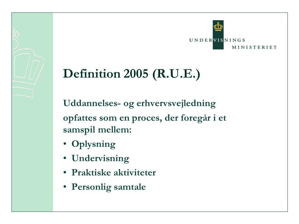 Uddannelses- og erhvervsvejledning opfattes som en proces, der foregår i et samspil mellem: • Oplysning • Undervisning • Praktiske aktiviteter • Personlig samtale Definition 2005 (R.U.E.)