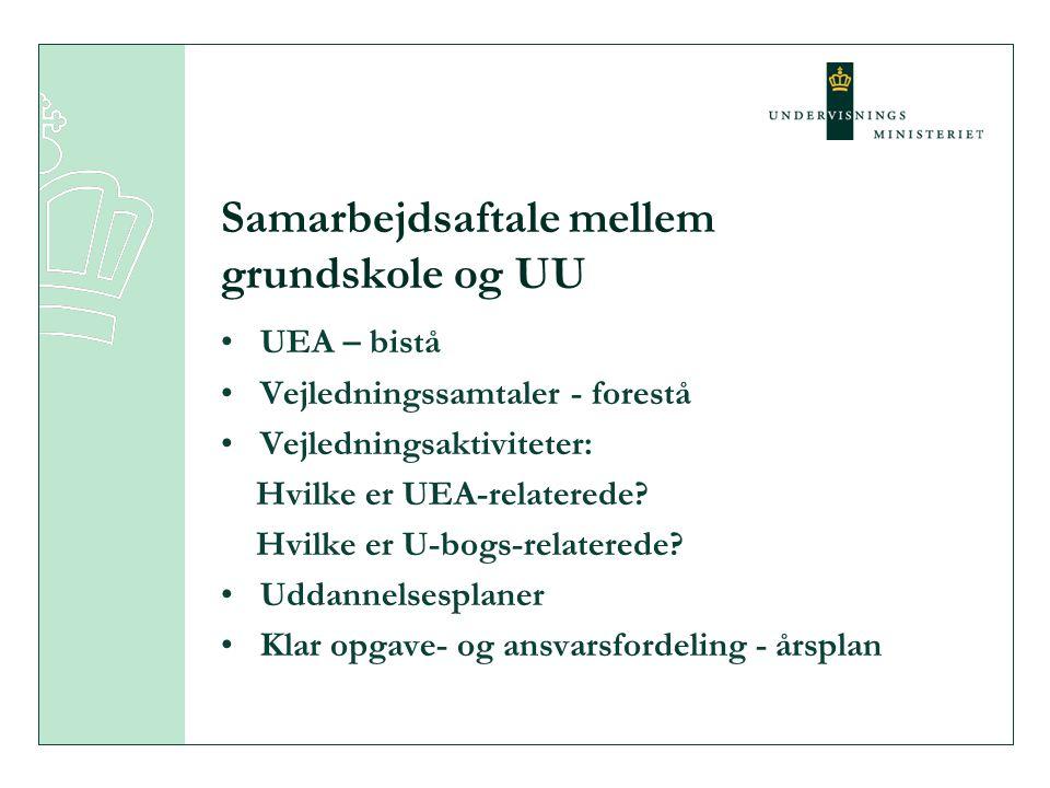 •UEA – bistå •Vejledningssamtaler - forestå •Vejledningsaktiviteter: Hvilke er UEA-relaterede.