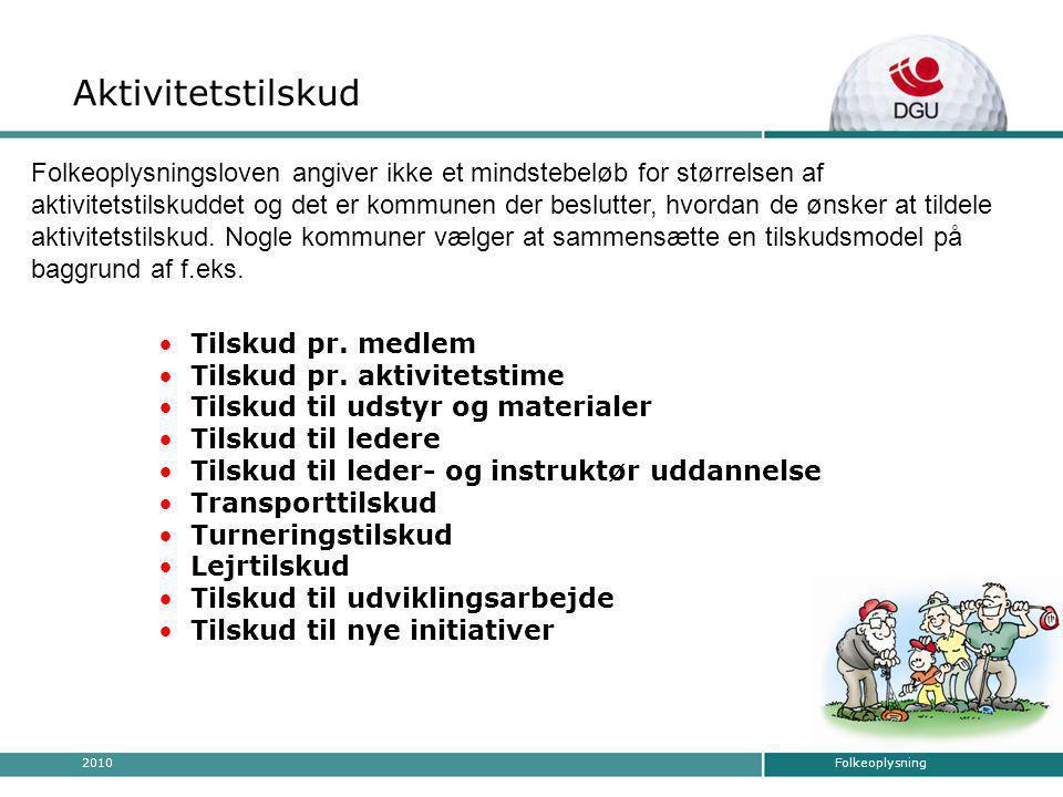 Folkeoplysning2010 • Tilskud pr. medlem • Tilskud pr.