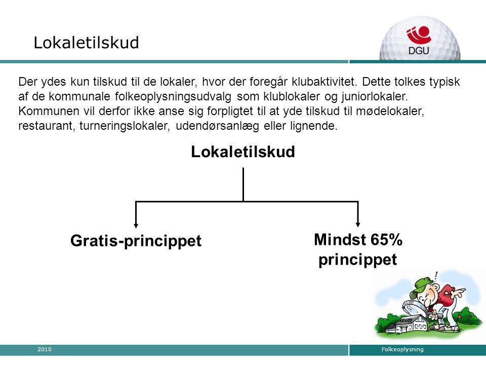 Folkeoplysning2010 Tilskudsmuligheder Lokaletilskud Mindst 65% princippet Lokaletilskud Gratis-princippet Der ydes kun tilskud til de lokaler, hvor der foregår klubaktivitet.