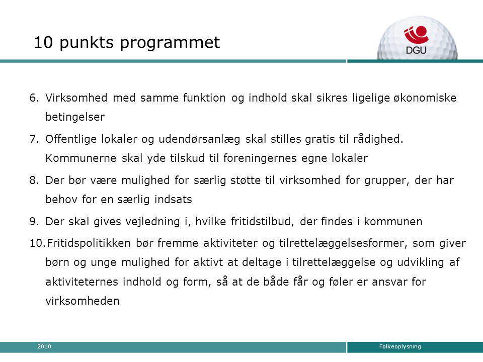 Folkeoplysning2010 10 punkts programmet 6.Virksomhed med samme funktion og indhold skal sikres ligelige økonomiske betingelser 7.Offentlige lokaler og udendørsanlæg skal stilles gratis til rådighed.