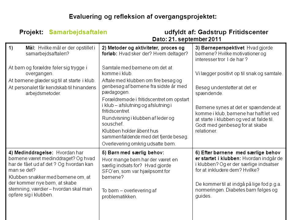Evaluering og refleksion af overgangsprojektet: Projekt: Samarbejdsaftalenudfyldt af: Gadstrup Fritidscenter Dato: 21.