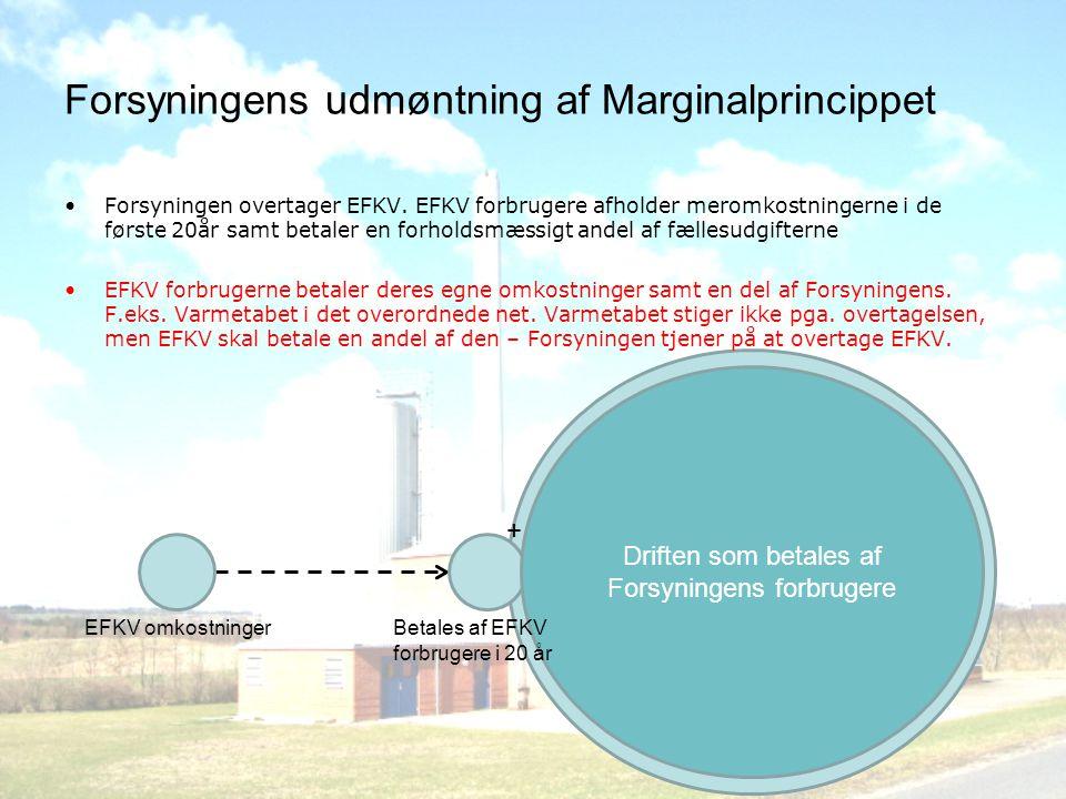 Forsyningens udmøntning af Marginalprincippet •Forsyningen overtager EFKV.