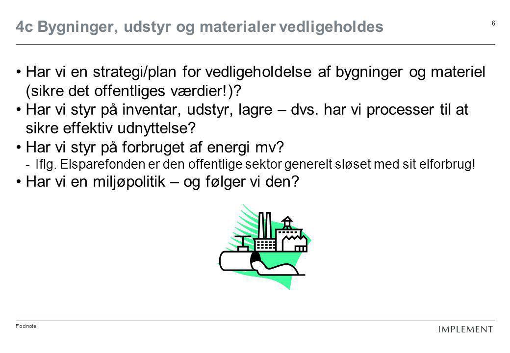 Fodnote: 6 4c Bygninger, udstyr og materialer vedligeholdes •Har vi en strategi/plan for vedligeholdelse af bygninger og materiel (sikre det offentliges værdier!).