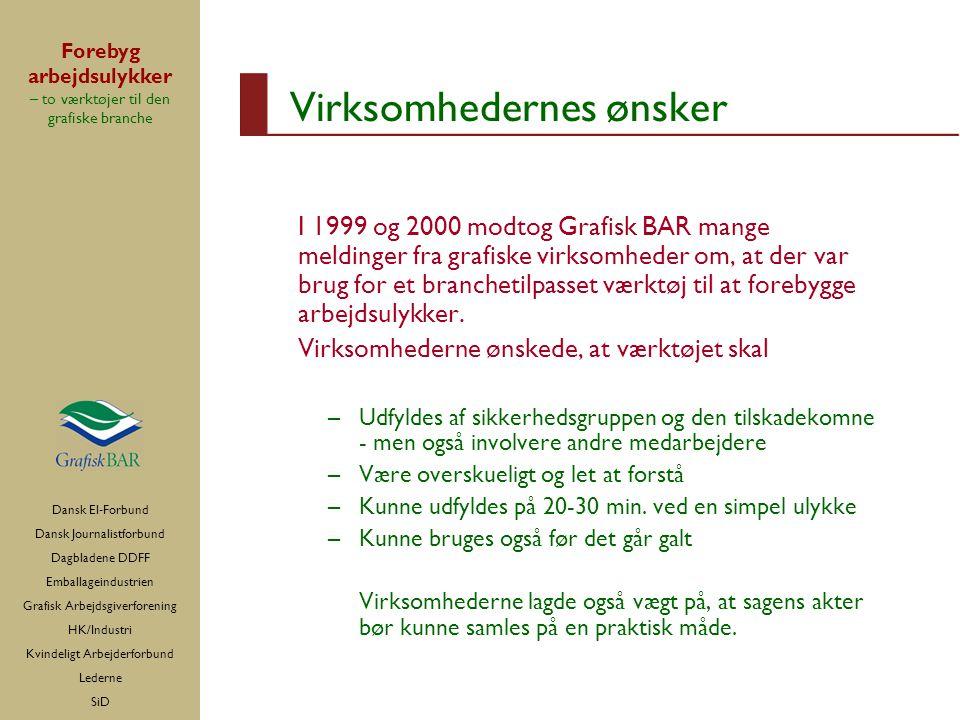 Dansk El-Forbund Dansk Journalistforbund Dagbladene DDFF Emballageindustrien Grafisk Arbejdsgiverforening HK/Industri Kvindeligt Arbejderforbund Lederne SiD Forebyg arbejdsulykker – to værktøjer til den grafiske branche Virksomhedernes ønsker I 1999 og 2000 modtog Grafisk BAR mange meldinger fra grafiske virksomheder om, at der var brug for et branchetilpasset værktøj til at forebygge arbejdsulykker.