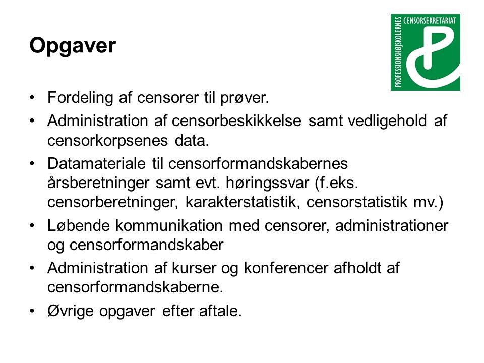 Opgaver •Fordeling af censorer til prøver.