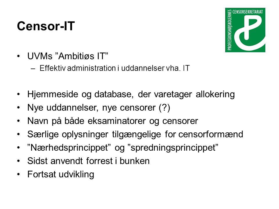 Censor-IT •UVMs Ambitiøs IT –Effektiv administration i uddannelser vha.