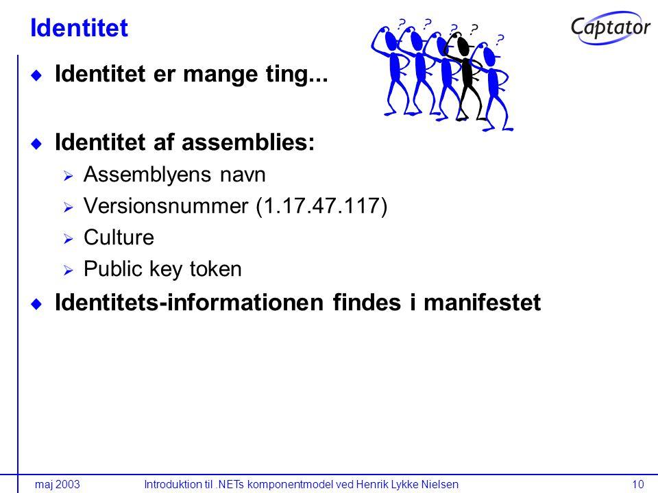 maj 2003Introduktion til.NETs komponentmodel ved Henrik Lykke Nielsen10 Identitet Identitet er mange ting...