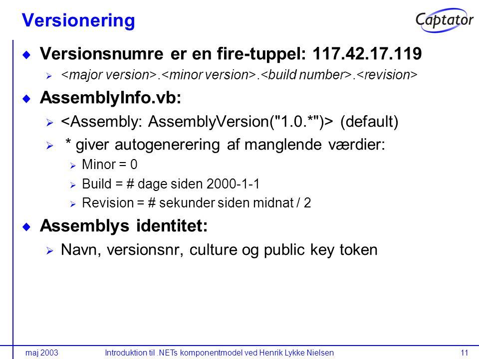 maj 2003Introduktion til.NETs komponentmodel ved Henrik Lykke Nielsen11 Versionering Versionsnumre er en fire-tuppel: 117.42.17.119...