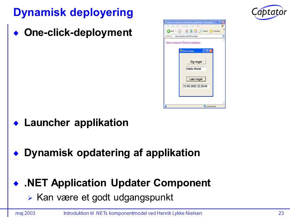 maj 2003Introduktion til.NETs komponentmodel ved Henrik Lykke Nielsen23 Dynamisk deployering One-click-deployment Launcher applikation Dynamisk opdatering af applikation.NET Application Updater Component Kan være et godt udgangspunkt