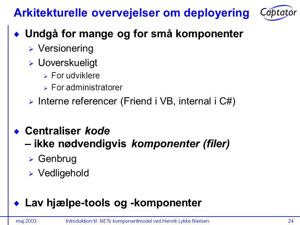 maj 2003Introduktion til.NETs komponentmodel ved Henrik Lykke Nielsen24 Arkitekturelle overvejelser om deployering Undgå for mange og for små komponenter Versionering Uoverskueligt For udviklere For administratorer Interne referencer (Friend i VB, internal i C#) Centraliser kode – ikke nødvendigvis komponenter (filer) Genbrug Vedligehold Lav hjælpe-tools og -komponenter
